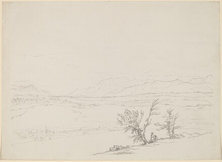 An Alpine Landscape with a Couple Seated by Trees Overlooking a Valley