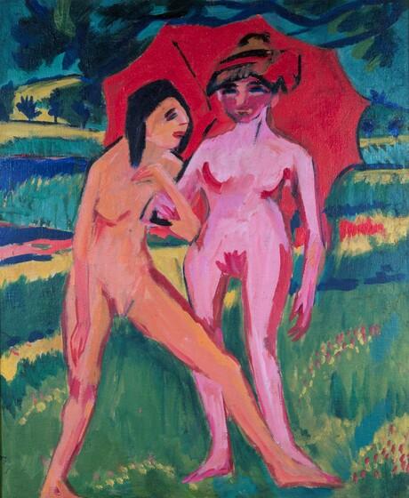 Ernst Ludwig Kirchner, Two Girls under an Umbrella, 1910