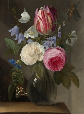 Roses and a Tulip in a Glass Vase