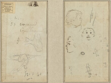 Seated Figure and a Cow; Three Studies of a Child's Head