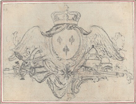 Arms of the King of France with Wings and Scientific Instruments