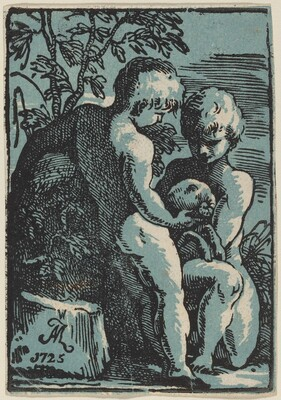 Two Children Petting a Lamb