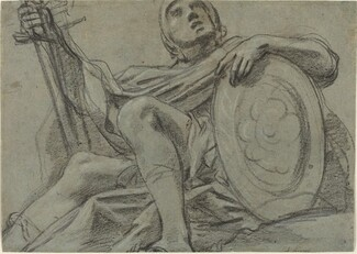 Seated Warrior Holding a Sword and Shield [recto]