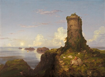 Italian Coast Scene with Ruined Tower