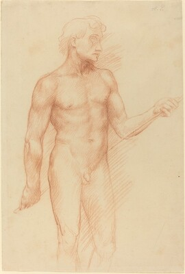 Study of a Man's Figure, Holding Rod behind Back