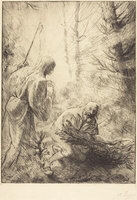 Death and the Woodcutter, 2nd plate (La mort et le bucheron)