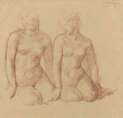 Study of Two Figures Seated Side by Side