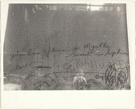 Handwriting on window, convention hall--Chicago