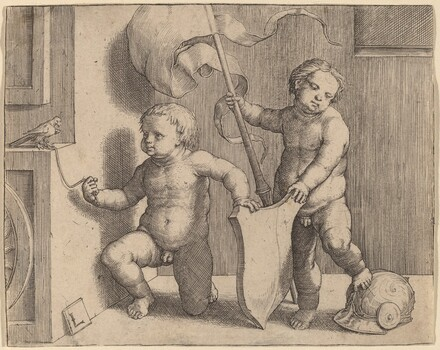 Two Naked Children Supporting a Blank Shield