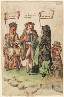 A Courtier Standing Between Covetousness and Dissimulation [fol. 14 recto]