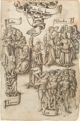 Hope, Reaching for Heaven, Stands among Sad and Happy Men, Joys, and Fear [fol. 19 recto]