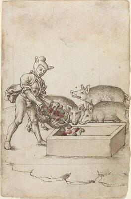 A Fool Feeding Flowers to Swine [fol. 42 recto]