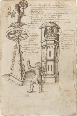 The Statue of Opportunity, a Passer-by, and Remorse [fol. 8r]