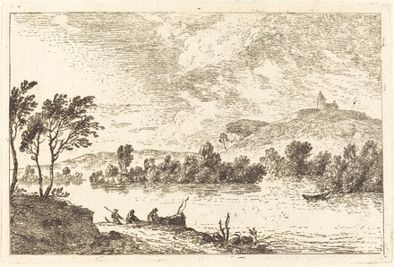 River Landscape with Figures and a Boat at Water's Edge