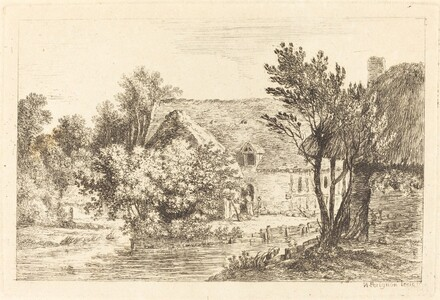 A House and a Shaded Cottage on the Banks of a River