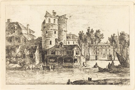 Town on a River Bank with Two Round Towers