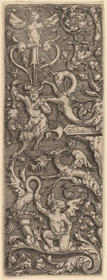 Ornament with a Cupid, a Satyr,  and Grotesque Figures