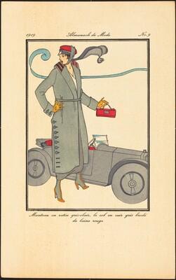 Manteau en ratin gris-clair, le col en cuir gris brodé de laine rouge