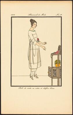 Robe de visite en satin et chiffon blanc