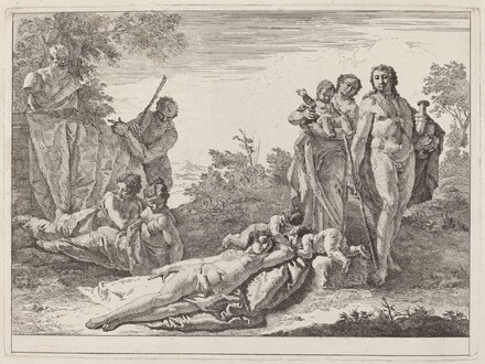 Apollo and Nymphs in a Landscape with a Bust of Pan
