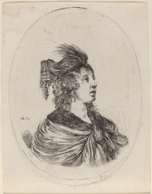 Woman in a Feathered Turban, Turned to the Right