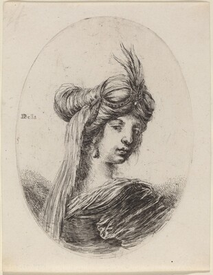 Woman in a Feathered Turban with a Veil, Turned to the Right