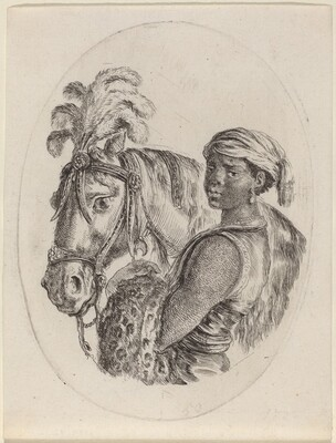 Black Groom with an Arabian Horse