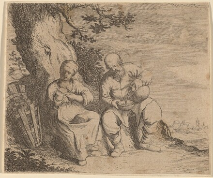 Peasant Couple Sitting under a Tree