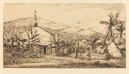 Nouvelle-Calédonie: Grande case indigène sur le chemin de Ballade à Poepo, 1845 (New Caledonia: Large Native Hut on the Road from Balade to Puebo, 1845)