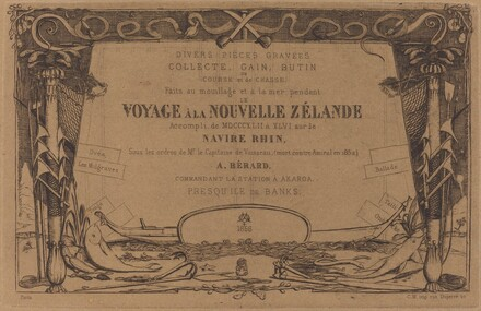 Couverture du Voyage à la nouvelle Zélande (Cover for the Set of Etchings Entitled A Voyage to New Zealand)