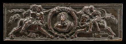 Front of a writing casket: Centaurs and Nymphs with Cornucopiae and Bust