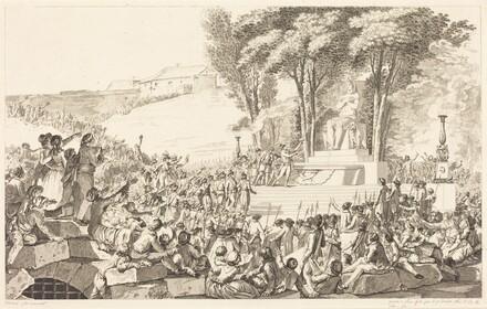 La Fontaine de la Regeneration sur les debris de la Bastille, le 10 avril 1793