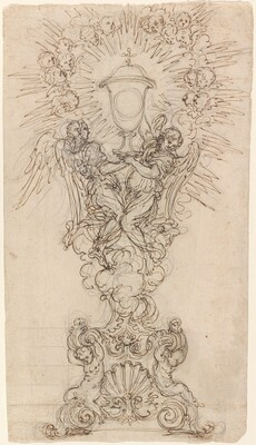 A Monstrance with Two Angels Supporting a Chalice