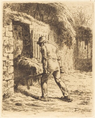 Man with Wheelbarrow (Le paysan rentrant du fumier)