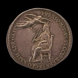 King Charles II Enthroned, being Crowned by Peace [reverse]