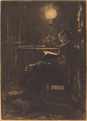 Liseuse à la Lampe (Woman Reading by Lamplight)