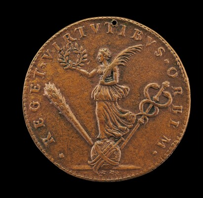 Victory Holding a Palm and Laurel, on a Globe with a Rudder, Club, and Cadeuceus [reverse]