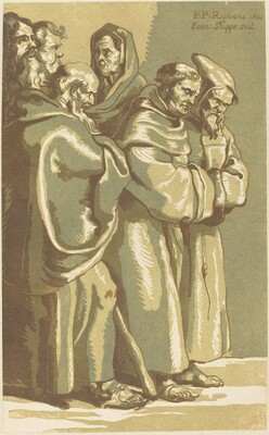A Group of Monks and a Woman