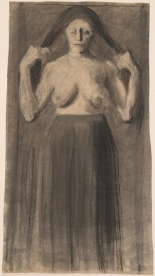 Half-Nude Woman Holding Her Hair Apart