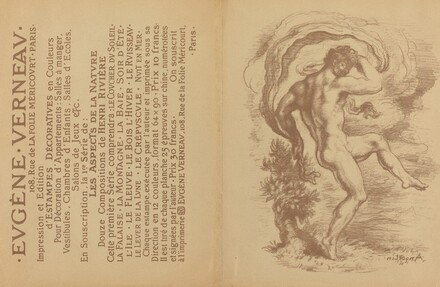 Dancing Nude and Advertisement for Eugène Verneau's Estampes décoratives [verso]