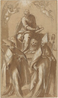 Saint Mark with Two Bishops and Putti