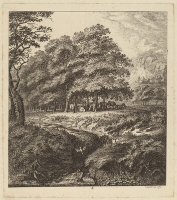 Cattle Resting in a Grove with a Man Seated beside a Brook