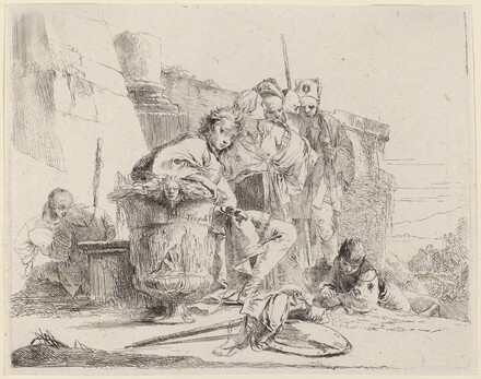 Seated Youth Leaning Against an Urn