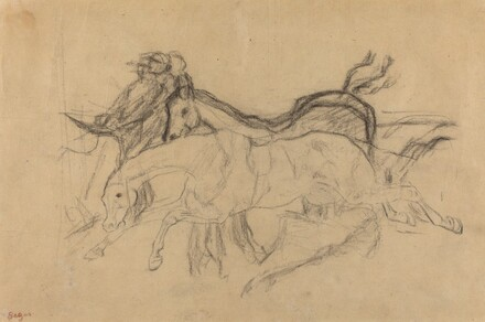 Racehorses (study for Scene from the Steeplechase: The Fallen Jockey)