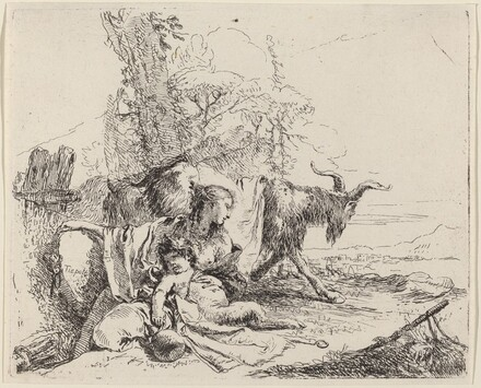 Woman, Satyr Child, and Goat in a Landscape