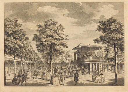 Vauxhall Gardens shewing the Grand Walk at the Entrance of the Garden and the Orchestra with Musick Playing