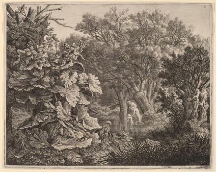 Landscape with Large Leaves and Satyrs