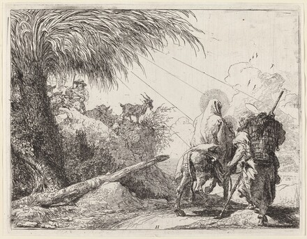The Flight, Holy Family at the Right, Joseph Looking to the Left