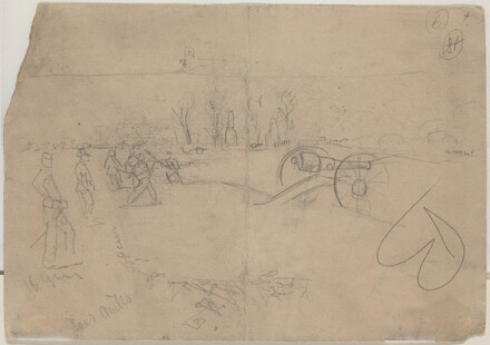 Soldiers and Cannon [verso]