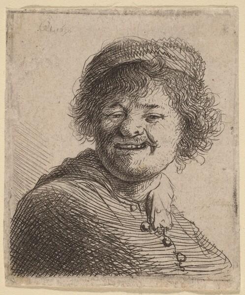 Self-Portrait in a Cap: Laughing